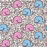 Love doodle whales pattern . Stock Photo