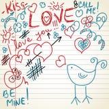 Love doodles. Decorative doodles on love theme stock illustration