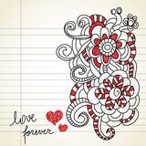 Love doodles. Floral doodles on love theme Stock Image