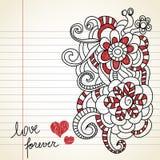 Love doodles. Floral doodles on love theme vector illustration