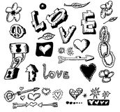 Love doodles, hand drawn Royalty Free Stock Photo