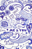 Love doodles messages on checkered paper. Royalty Free Stock Photography