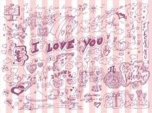 LOVE doodles set Stock Photography