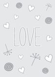 Love doodles. Valentines day template that reads Love. It has hearts, dandelions and doodles. It can be used as a poster, a card or a background Royalty Free Stock Images