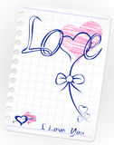 Love doodles. Vector hand drawn hearts Royalty Free Stock Images