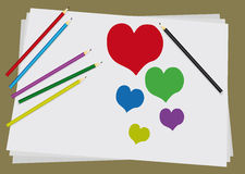 Love draw pencils. Six colored pencils paint a heart on a white sheet of paper Royalty Free Stock Images