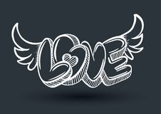 Love drawing 3D style. With heart arrow. Vector illustration for love concept wedding and valentine Royalty Free Stock Photography