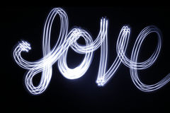 Love drawing with light and long exposure Royalty Free Stock Photos