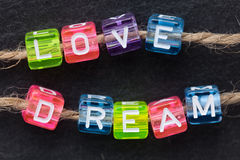 LOVE DREAM word concept stock image