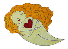 Love Dreamer Illustration. Red head dreamer, holding a heart in his hands Royalty Free Stock Photo
