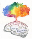 Love and dreams brain. Hand made artwork with a watercolored tree on a brain full of love and dreams. Concept illustration about thinking positive Stock Images