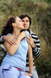 Love each other man and woman. A young men tenderly embracing his young girl Stock Photo