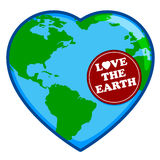 Love The Earth. An illustration of a heart shaped globed in celebration of Earth Day Stock Photography