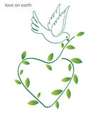 Love on earth. Illustration of a peace dove and Heart-shaped with Olive branch Stock Photo