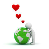 Love the earth concept. 3d man hugging green globe on white background Stock Images