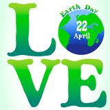 Love earth day card  illustration. Green background, April 22 Stock Photo