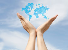 Love the earth. World Population Day love and save the earth stock photo