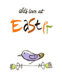 With love at Easter card design, calligraphic text, lettering. Hand drawn bird, branches, leaves isolated on white. Background. Vector Royalty Free Stock Images