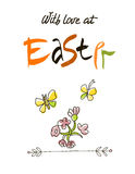 With love at Easter card design, calligraphic text, lettering. Hand drawn stylized flowers and butterflies on white Stock Photography