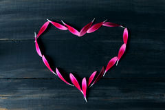 Love on the ebony. Heart made of pink petals on a black background Royalty Free Stock Image