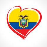 Love Ecuador emblem with heart in national flag color. National holiday in Ecuador 13 May vector greetings card. Celebration Ecuadorian anniversary Independence Royalty Free Illustration