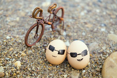 The love of eggs. Eggs husband and wife Royalty Free Stock Photography