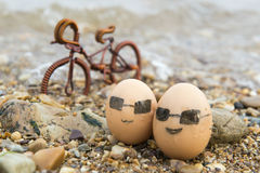 The love of eggs. Eggs travel of eggs At the seaside Stock Photography
