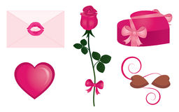 Love elements. Illustration of a red rose with a ribbon, a heart, a gift, a letter sealed with a kiss and chocolate candies Stock Photography
