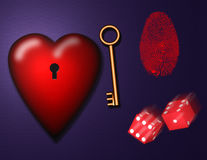 Love elements. 3d render. Heart with keyhole. Golden key and dice. This image created in entirety by me and is entirely owned by me and is entirely legal for me Royalty Free Stock Photos