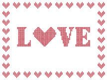 LOVE embroidery Stock Photo
