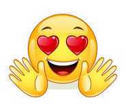 In love emoticon with open hands. Royalty Free Stock Photography