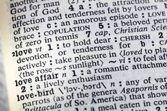 Love emotion affair lover cherish dictionary. Love emotion affair lover dictionary definition romantic attachment words royalty free stock image