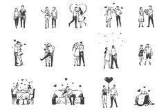 Free Love, Enamored People Concept Sketch. Hand Drawn Isolated Vector Royalty Free Stock Images - 161143199