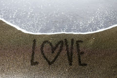 Love end sand writing Stock Images