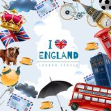 Love England Travel Background. England london travel frame background with collage of flat images with stereotype items and editable text vector illustration royalty free illustration