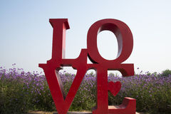 Love, English font, flowers, Verbena Royalty Free Stock Photo