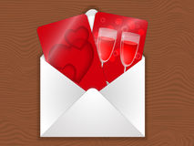 Love envelope. Envelope with cards with a picture of a heart and two glasses, an invitation for a date Stock Images