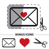Love Envelope With Scissor And Cut Line - Vector Sticker Illustration - Bonus Icons - Isolated On White. Background royalty free illustration