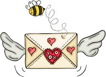 Love envelope with wings and bee. Scalable vectorial representing a love envelope with wings and bee, element for design, illustration isolated on white Royalty Free Stock Image