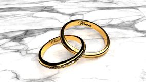 Marriage bond, small and big golden ring joined forever stock illustration