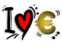 Love Euro. Creative design of love euro Royalty Free Stock Photography
