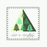 Love is everything. Christmas card: 6 very beautiful stylized Christmas trees forming a design triangle with a pretty traditional Christmas border and a text Royalty Free Stock Photos