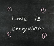 Love is everywhere on blackboard Stock Image