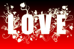 Love - evolution text. Evolution of love. Graphic sign with growing flowers Stock Images