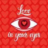Love In Eyes Heart Shape Red Background For Valentines Day Retro Card. Vector Illustration Stock Photo