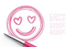 In love face symbol hand drawing by pen sketch pink color, valen. Tine concept design illustration isolated on white background, with copy space Royalty Free Stock Images