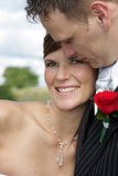 Love Faces. A bride and groom on their wedding day Stock Photography