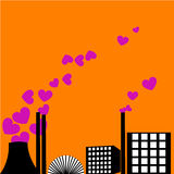 Love Factory. Illustration on orange background Stock Photo
