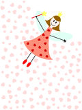 Love fairy. A flying fairy with magic wand and pink hearts Stock Images