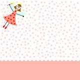 Love fairy. Card pink card with fairy girl and hearts Stock Image